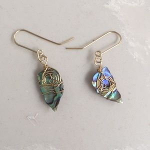 Stunning Gold Wrapped Abalone Earrings